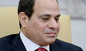 President Abdel Fattah Al Sisi of Egypt looks on in the Oval Office of White House during a meeting with United President Donald Trump in Washington, DC, April 3, 2017.<br /> Credit: Olivier Douliery / Pool via CNP