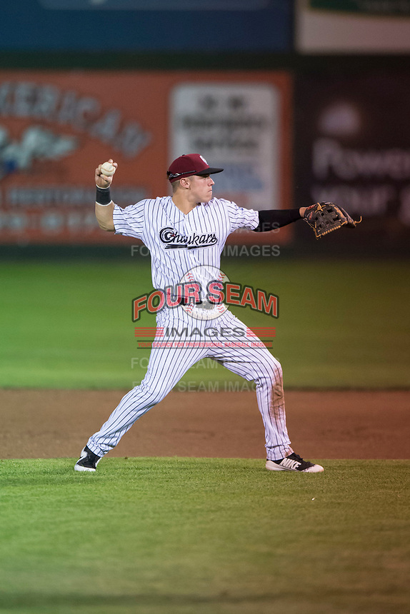 Idaho Falls Chukars second baseman Nathan Eaton (8) prepares to make a throw to first base during a Pioneer League game against the Great Falls Voyagers at Melaleuca Field on August 18, 2018 in Idaho Falls, Idaho. The Idaho Falls Chukars defeated the Great Falls Voyagers by a score of 6-5. (Zachary Lucy/Four Seam Images)