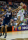 Apr 7, 2013; Notre Dame Skylar Diggins gets the ball stripped from her by Connecticut Bria Hartley as she goes up for a shot during the second half of the semifinals of the 2013 NCAA women's basketball Final Four at the New Orleans Arena. Connecticut defeated Notre Dame 83 to 65. Photo by Barbara Johnston/ University of Notre Dame