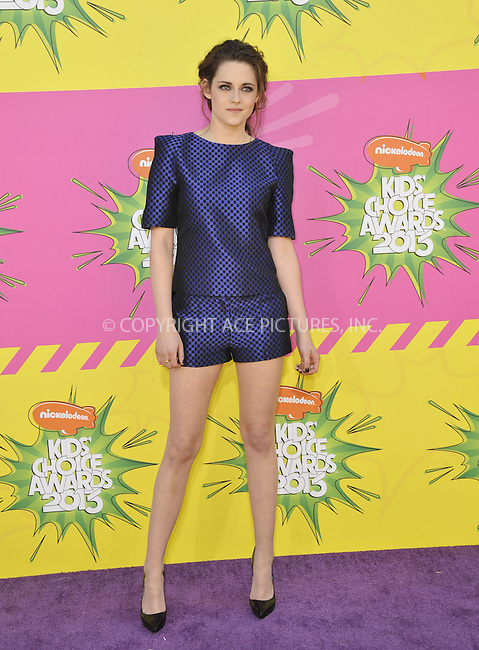 WWW.ACEPIXS.COM....March 23 2013, LA....Kristen Stewart arriving at the Nickelodeon's 26th Annual Kids' Choice Awards at USC Galen Center on March 23, 2013 in Los Angeles, California.......By Line: Peter West/ACE Pictures......ACE Pictures, Inc...tel: 646 769 0430..Email: info@acepixs.com..www.acepixs.com