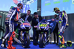 18.01.2016, Telefonica tower, Barcelona, Spain. Moto GP. 2016 Yamaha Racing global press conference. Picture show Jorge Lorenzo, Valentino Rosi,Kouichi Tsuji, and Lin Jarvis show news motorbikes