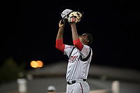 Lake Elsinore Storm relief pitcher Dauris Valdez (32) celebrates after getting the last out of a California League game against the Modesto Nuts at John Thurman Field on May 12, 2018 in Modesto, California. Lake Elsinore defeated Modesto 4-1. (Zachary Lucy/Four Seam Images)