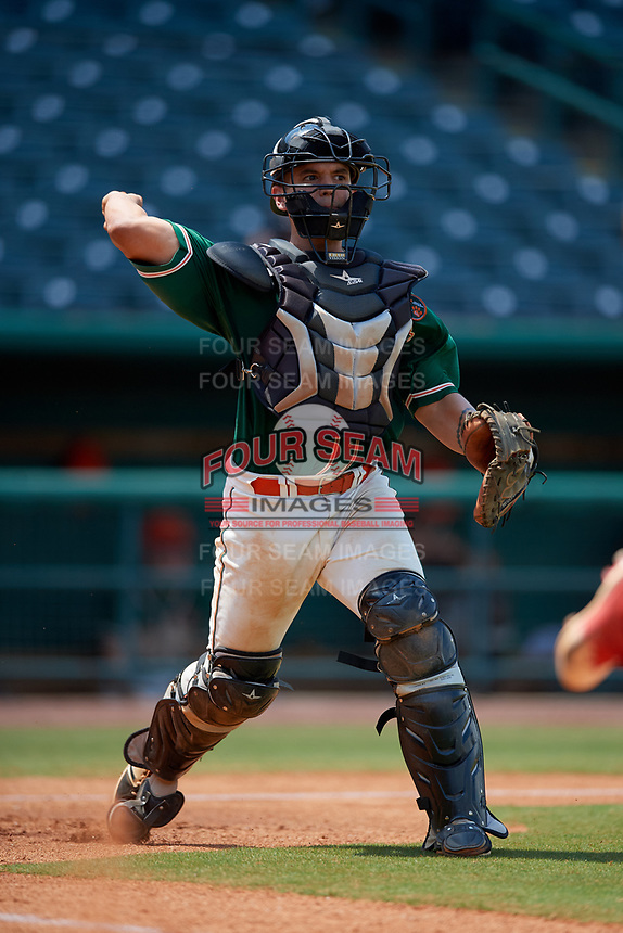 Greensboro Grasshoppers catcher Michael Hernandez (17) throws to first base during a game against the Lakewood BlueClaws on June 10, 2018 at First National Bank Field in Greensboro, North Carolina.  Lakewood defeated Greensboro 2-0.  (Mike Janes/Four Seam Images)
