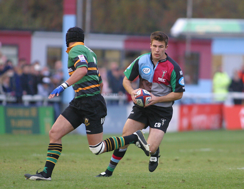 Photo: Jo Caird..Harlequins v Northampton . Zurich Premiership..08/11/2003..Chris Bell attacks.