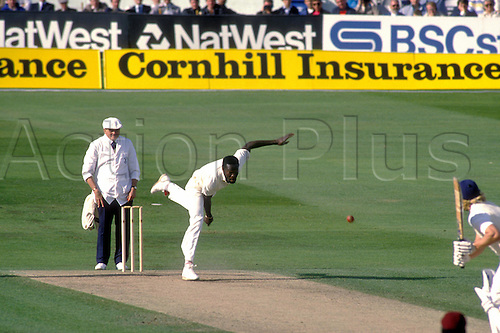 July 1988, West Indies player CARL HOOPER bowls to Graham Dilley during the 4th test match between England and the West Indies at Headingley. Photo: David Davis/Action Plus