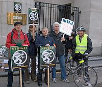 Pickets outside BBC Bush House, London, on The Pensions Strike 6th Nov 2010,