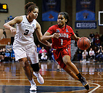 SIOUX FALLS, SD: MARCH 21:  Jada Perkins #1 of Union drives on Kayonna Lee #3 of Central Missouri during their game at the 2018 Division II Women's Basketball Championship at the Sanford Pentagon in Sioux Falls, S.D. (Photo by Dick Carlson/Inertia)