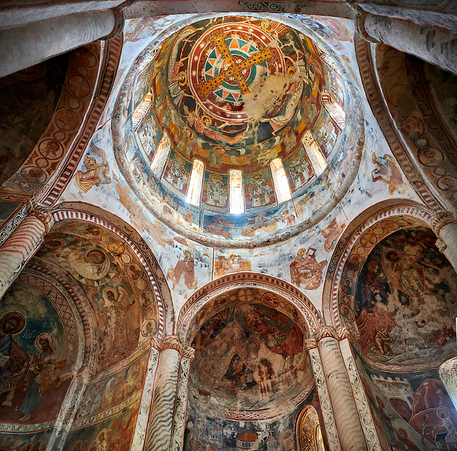 Pictures & images of Nikortsminda ( Nicortsminda ) St Nicholas Georgian Orthodox Cathedral rich interior frescoes of the cupola dome, 16th century, Nikortsminda, Racha region of Georgia (country). A UNESCO World Heritage Tentative Site.