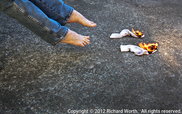 What it might look like if something really did knock your socks off and then set them on fire.