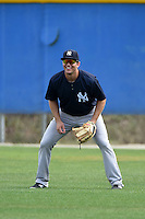 New York Yankees Austin Aune (67) during practice before a minor league spring training game against the Toronto Blue Jays on March 24, 2015 at the Englebert Complex in Dunedin, Florida.  (Mike Janes/Four Seam Images)