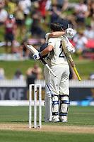 1st December 2019, Hamilton, New Zealand;  Rory Burns celebrates as he scores 100. International test match cricket, New Zealand versus England at Seddon Park, Hamilton, New Zealand. Sunday 1 December 2019.