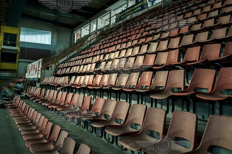 Seating in a sport's hall.
