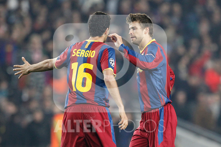 Barcelona's Gerard Pique goal during Champions League match on April, 6th 2011...Photo: Acero / Cebolla / ALFAQUI