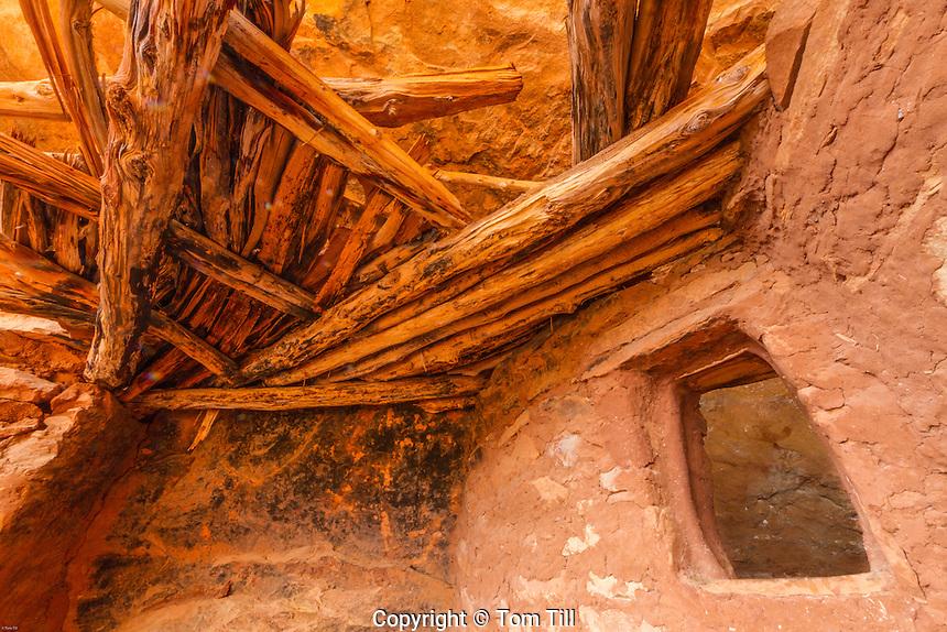 Ceiling structures and window of ancient ruin, Cedar Mesa, Utah Proposed San Juan Anasazi Wilderness, Utah