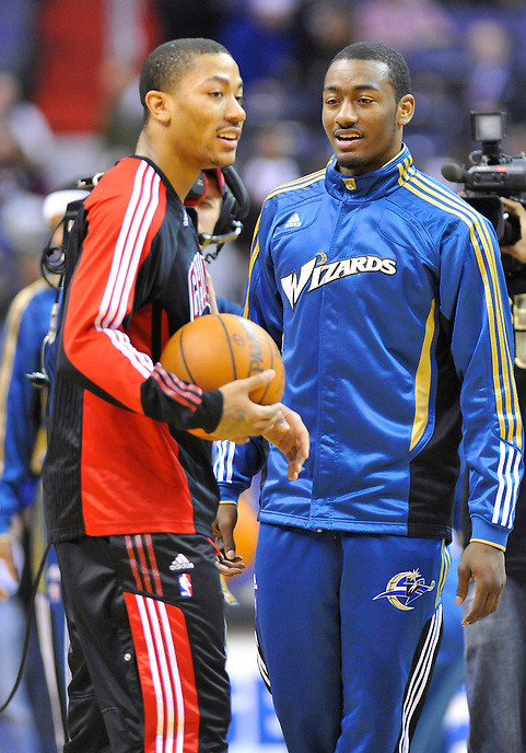Derrick Rose of the Bulls and John Wall of the Wizards have a chat prior to tip-off at the Verizon Center in Washington, D.C. on Monday, February 28, 2011. Alan P. Santos/DC Sports  Box