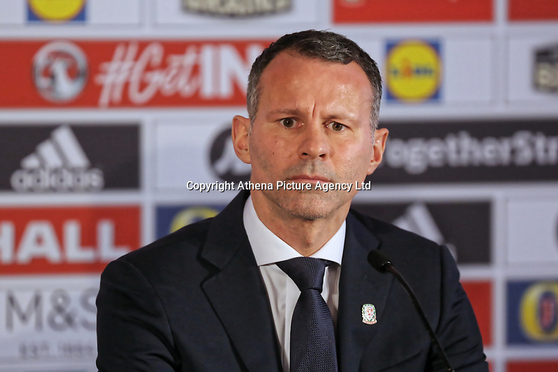 Ryan Giggs speaks to members of the press during the Wales Unveiling  Of The New Manager at Hensol Castle, Vale of Glamorgan, Wales, UK. Monday 15 January 2018