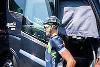 Castellon, SPAIN - SEPTEMBER 7: Movistar biker during LA Vuelta 2016 on September 7, 2016 in Castellon, Spain