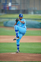 Ogden Raptors starting pitcher Alfredo Tavarez (30) delivers a pitch to the plate against the Rocky Mountain Vibes at Lindquist Field on July 4, 2019 in Ogden, Utah. The Raptors defeated the Vibes 4-2. (Stephen Smith/Four Seam Images)