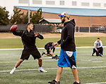 March 19, 2017. Chapel Hill, North Carolina.<br /> <br /> Mitch Trubisky has been working with QB coach Ryan Lindley (in hat), himself a former NFL quarterback, as he prepares for the NFL draft.<br /> <br /> Mitchell Trubisky, the former quarterback of UNC-CH, is projected to be picked in the first round of the 2017 NFL draft.