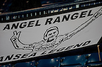 WEST BROMWICH, ENGLAND - FEBRUARY 11: A flags banner reading Angel Rangel Swansea Legend hangs from the stands in the Hawthrons during the Premier League match between West Bromwich Albion and Swansea City at The Hawthorns on February 11, 2015 in West Bromwich, England. (Photo by Athena Pictures/Getty Images)