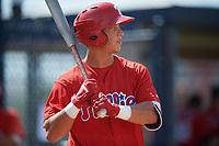 Philadelphia Phillies Matt Kroon (10) at bat during a Florida Instructional League game against the New York Yankees on October 11, 2018 at Yankee Complex in Tampa, Florida.  (Mike Janes/Four Seam Images)