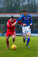 Walsall's Zeli Ismail (left) vies for possession with Rochdale's Joe Bunney (right) during the Sky Bet League 1 match between Rochdale and Walsall at Spotland Stadium, Rochdale, England on 23 December 2017. Photo by Juel Miah / PRiME Media Images.
