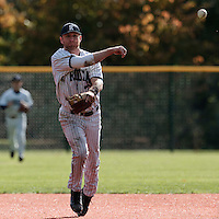 24 October 2010: Aaron Hornostaj of Rouen throws the ball to first base during Rouen 5-1 win over Savigny, during game 4 of the French championship finals, in Rouen, France.