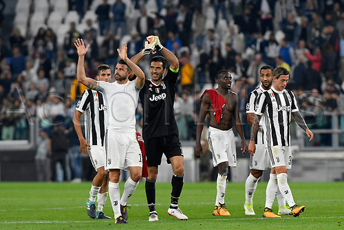27th September 2017, Allianz Stadium, Turin, Italy; UEFA Champions League, Juventus versus Olympiacos; Juventus players celebrate at the end of the match