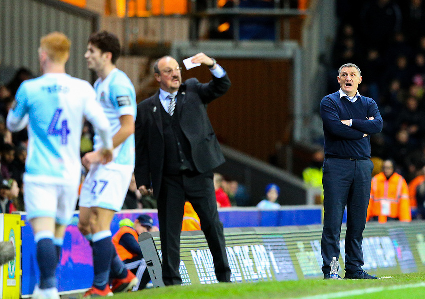 Blackburn Rovers manager Tony Mowbray shouts instructions to his team from the technical area<br /> <br /> Photographer Alex Dodd/CameraSport<br /> <br /> Emirates FA Cup Third Round Replay - Blackburn Rovers v Newcastle United - Tuesday 15th January 2019 - Ewood Park - Blackburn<br />  <br /> World Copyright © 2019 CameraSport. All rights reserved. 43 Linden Ave. Countesthorpe. Leicester. England. LE8 5PG - Tel: +44 (0) 116 277 4147 - admin@camerasport.com - www.camerasport.com