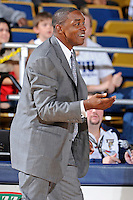12 November 2010:  FIU Basketball Head Coach Isiah Thomas reacts to a call in the first half as the FIU Golden Panthers defeated the Florida Memorial Lions, 89-73, at the U.S. Century Bank Arena in Miami, Florida.