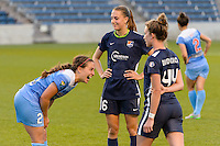 Bridgeview, IL, USA - Sunday, May 29, 2016: Chicago Red Stars midfielder Danielle Colaprico (24) talks with Sky Blue FC midfielders Sarah Killion (16) and Theresa Diederich (44) after a regular season National Women's Soccer League match between the Chicago Red Stars and Sky Blue FC at Toyota Park. The game ended in a 1-1 tie.