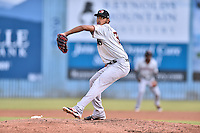 Hickory Crawdads starting pitcher Jonathan Hernandez (33) delivers a pitch during a game against the Asheville Tourists at McCormick Field on August 31, 2016 in Asheville, North Carolina. The Tourists defeated the Crawdads 13-5. (Tony Farlow/Four Seam Images)