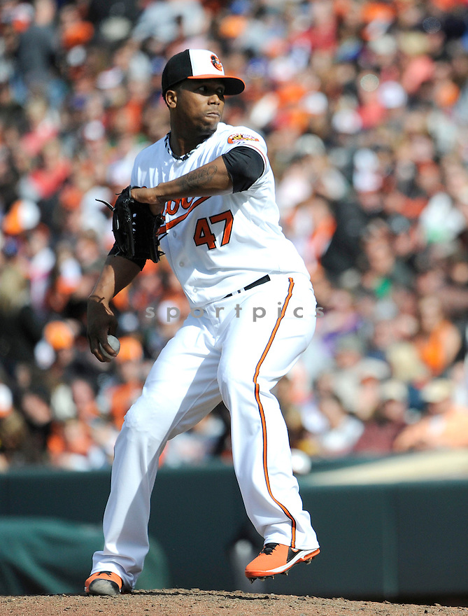 Baltimore Orioles Pedro Strop (47)  during a game against the Los Angeles Dodgers on April 21, 2013 at Oriole Park in Baltimore, MD. The Dodgers beat the Orioles 7-4.