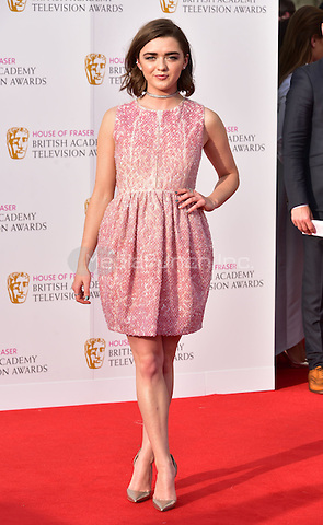 LONDON, ENGLAND - MAY 08: Maisie Williams at he British Academy (BAFTA) Television Awards 2016, Royal Festival Hall, Belvedere Road, London, England, UK, on Sunday 08 May 2016.<br /> CAP/JOR<br /> &copy;JOR/Capital Pictures /MediaPunch ***NORTH AMERICA AND SOUTH AMERICA ONLY***