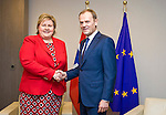 BRUSSELS - BELGIUM - 21 January 2015 -- Erna SOLBERG, Prime Minister of Norway visiting Donald TUSK, President of the European Council. -- Photo: Juha ROININEN / EUP-IMAGES / Prime Ministers Office