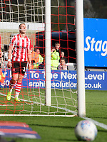 Lincoln City's Danny Rowe reacts after a second half chance was not converted<br /> <br /> Photographer Chris Vaughan/CameraSport<br /> <br /> The EFL Sky Bet League Two - Lincoln City v Cheltenham Town - Saturday 13th April 2019 - Sincil Bank - Lincoln<br /> <br /> World Copyright &copy; 2019 CameraSport. All rights reserved. 43 Linden Ave. Countesthorpe. Leicester. England. LE8 5PG - Tel: +44 (0) 116 277 4147 - admin@camerasport.com - www.camerasport.com