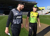 Kane Williamson and David Warner.<br /> New Zealand Black Caps v Australia.Tri-Series International Twenty20 cricket. Eden Park, Auckland, New Zealand. Friday 16 February 2018. &copy; Copyright Photo: Andrew Cornaga / www.Photosport.nz