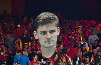 Gent, Belgium, November 27, 2015, Davis Cup Final, Belgium-Great Britain, Belgian fans display a giant poster of David Goffin<br /> Photo: Tennisimages/Henk Koster