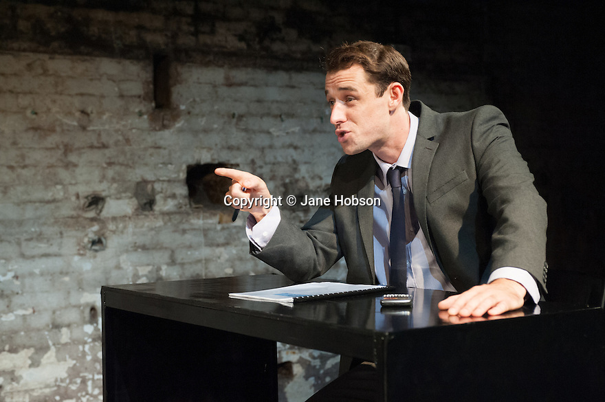 London, UK. 11.10.2012. YOU CAN STILL MAKE A KILLING, a new play by Nicholas Pierpan, opens at Southwark Playhouse. Directed by Matthew Dunster, the play runs from 10th October to 3rd November 2012. Picture shows: Tim Delap. Photo credit: Jane Hobson.