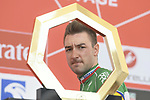Italian National Champion Elia Viviani (ITA) Deceuninck-Quick Step at sign on before the start of Stage 3 of the 2019 UAE Tour, running 179km form Al Ain to Jebel Hafeet, Abu Dhabi, United Arab Emirates. 26th February 2019.<br /> Picture: LaPresse/Fabio Ferrari | Cyclefile<br /> <br /> <br /> All photos usage must carry mandatory copyright credit (© Cyclefile | LaPresse/Fabio Ferrari)