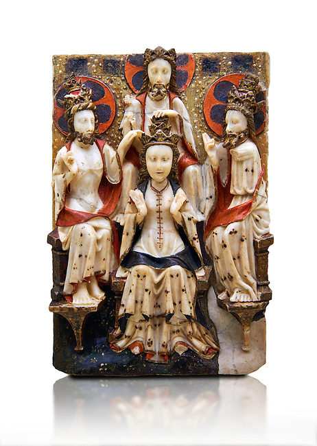 Gothic marble relief sculpture of the Coronation of the Virgin Mary made in London or York, 1420-1460.  National Museum of Catalan Art, Barcelona, Spain, inv no: MNAC  64124. Against a white background.