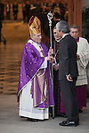 Adolfo Suarez Illana (R) and Archbishop of Madrid Rouco Varela (L) arrive to the state funeral for former Spanish prime minister Adolfo Suarez at the Almudena Cathedral in Madrid, Spain. March 31, 2014. (ALTERPHOTOS/Victor Blanco)