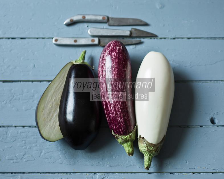 Gastronomie Générale: Différentes variétés d'Aubergines: Aubergine violette, Aubergine Listada de Gandia, Aubergine blanche - Stylisme : Valérie LHOMME