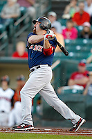 Boston Red Sox designated hitter Kevin Youkilis #46 flies out to right during the first inning of a rehab assignment game with the Pawtucket Red Sox against the Rochester Red Wings at Frontier Field on August 30, 2011 in Rochester, New York.  (Mike Janes/Four Seam Images)