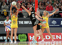 16.09.2012 Silver Ferns Leana de Bruin and Australian Natalie Medhurst in action during the first netball test match between the Silver Ferns and the Australian Diamonds played at the Hisense Arena In Melbourne. Mandatory Photo Credit ©Michael Bradley.