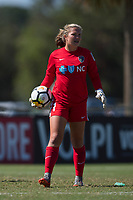 Sanford, FL - Saturday Oct. 14, 2017:  The Courage goalkeeper during a US Soccer Girls' Development Academy match between Orlando Pride and NC Courage at Seminole Soccer Complex. The Courage defeated the Pride 3-1.