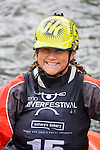 Sage Donnelly, waits for her turn in the freestyle competition at the Reno Riverfestival 2014 freestyle kayaking