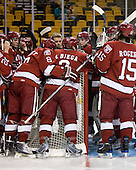 - The Northeastern University Huskies defeated the Harvard University Crimson 4-1 (EN) on Monday, February 8, 2010, at the TD Garden in Boston, Massachusetts, in the 2010 Beanpot consolation game.