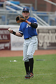 July 14th, 2007:  Ryan Adams of the Aberdeen Ironbirds, Class-A Short-Season affiliate of the Baltimore Orioles, warms up before a game vs the Jamestown Jammers in New York-Penn League action.  Photo Copyright Mike Janes Photography 2007.