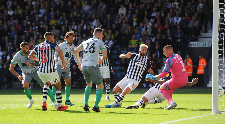Blackburn Rovers' Bradley Johnson (left) scores his side's second goal <br /> <br /> Photographer Kevin Barnes/CameraSport<br /> <br /> The EFL Sky Bet Championship - West Bromwich Albion v Blackburn Rovers - Saturday 31st August 2019 - The Hawthorns - West Bromwich<br /> <br /> World Copyright © 2019 CameraSport. All rights reserved. 43 Linden Ave. Countesthorpe. Leicester. England. LE8 5PG - Tel: +44 (0) 116 277 4147 - admin@camerasport.com - www.camerasport.com